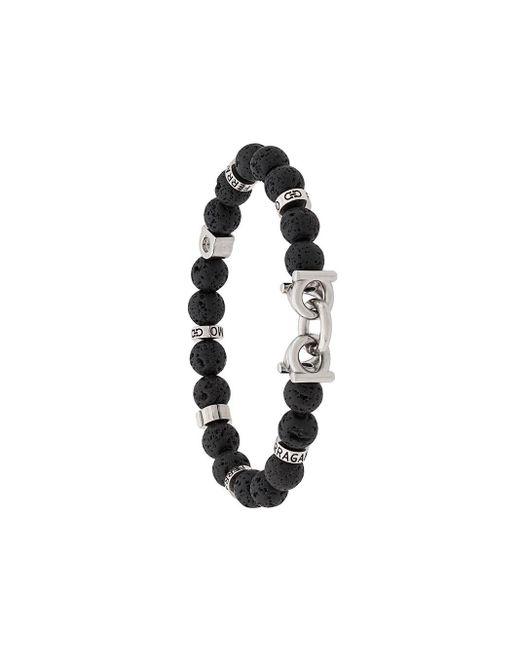 Браслет Gancini С Камнями Ferragamo для него, цвет: Black
