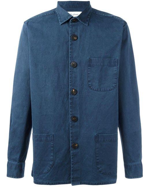 メンズ Schnayderman's Overshirt Overdyed One シャツ Blue