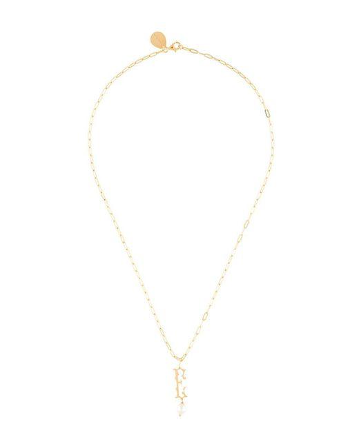 Simone Rocha Metallic Pearl-embellished E Letter Necklace