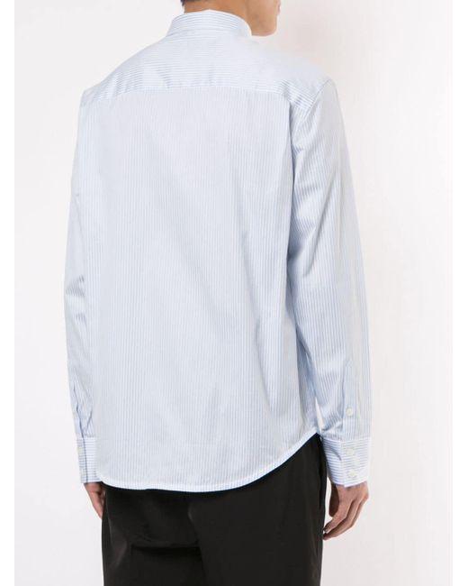 Camisa a rayas de manga larga Calvin Klein de hombre de color Blue