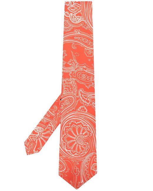 Cravate en soie imprimée Etro pour homme en coloris Orange