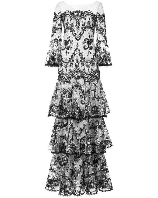 Кружевное Платье С Вышивкой Marchesa notte, цвет: Black