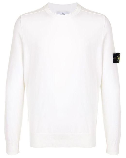 メンズ Stone Island ロゴ スウェットシャツ White