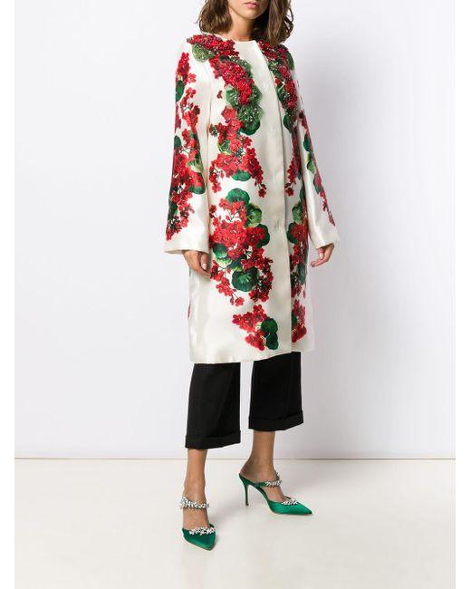 Abrigo con estampado floral y cuentas Dolce & Gabbana de color White