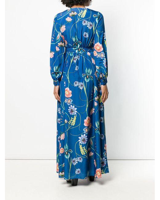 Vestido camisero con motivo floral Borgo De Nor de color Blue