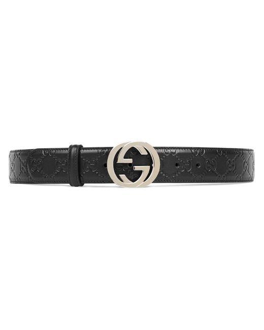 Gucci 【公式】 (グッチ)GGレザー ベルト(g バックル)ブラック GG レザーブラック Black