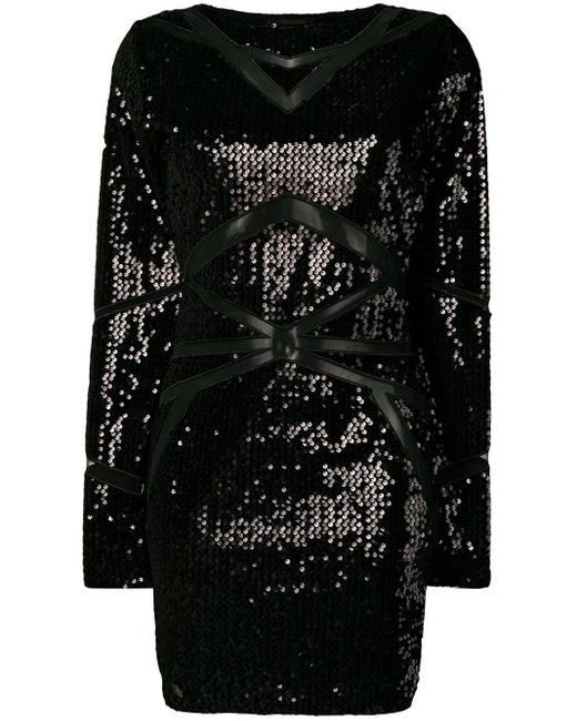 Philipp Plein スパンコール ドレス Black