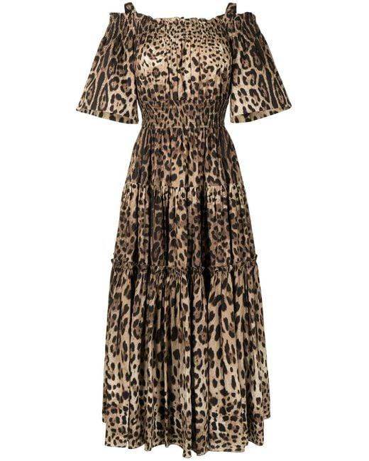 Dolce & Gabbana レオパード ドレス Brown