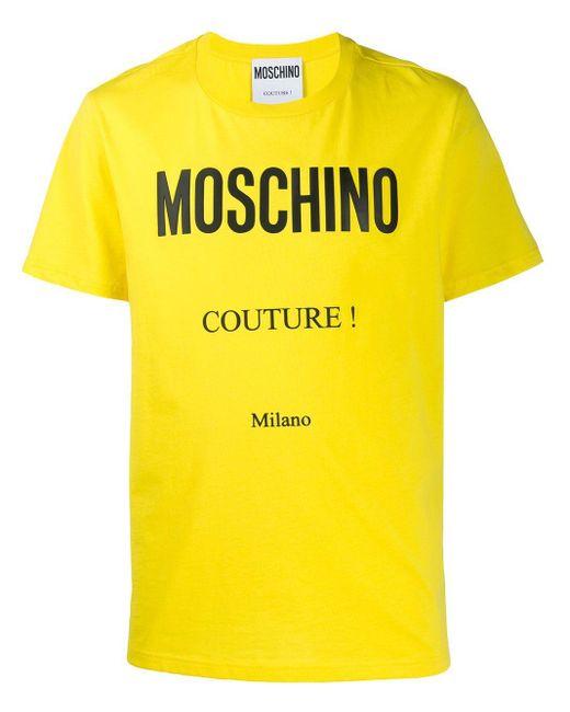 メンズ Moschino プリント Tシャツ Yellow