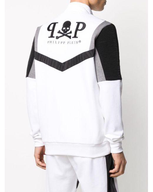 Veste zippée à design colour block Philipp Plein pour homme en coloris White