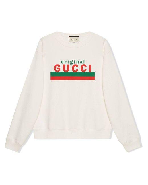 メンズ Gucci ロゴ スウェットシャツ White