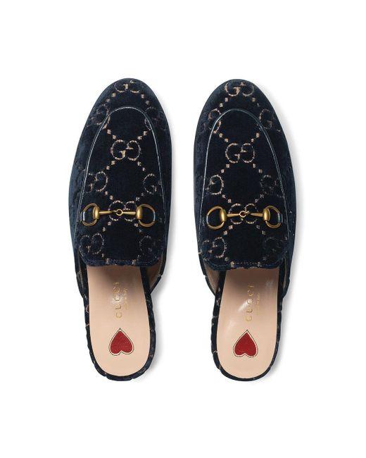 Бархатные Слиперы 'princetown' С Узором GG Gucci, цвет: Blue