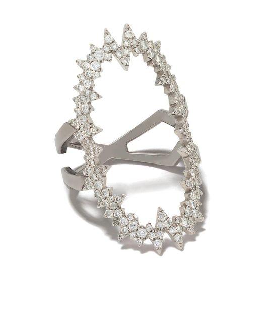 Diane Kordas Atomic ダイヤモンド リング 18kホワイトゴールド Metallic