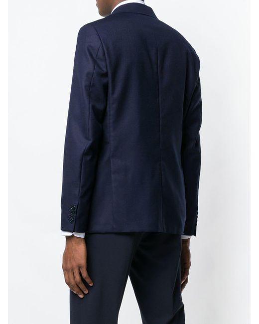 メンズ Mp Massimo Piombo テクスチャー シングルジャケット Blue