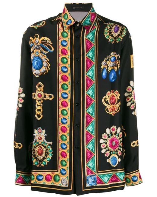 Versace Overhemd Met Print in het Black voor heren