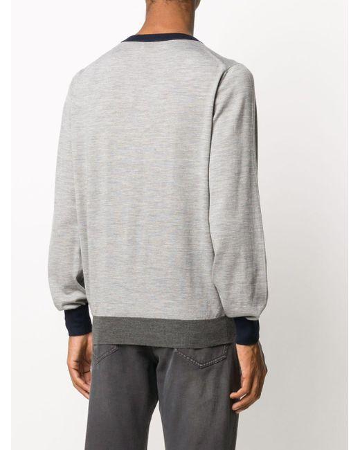 メンズ Brunello Cucinelli コントラストトリム セーター Gray