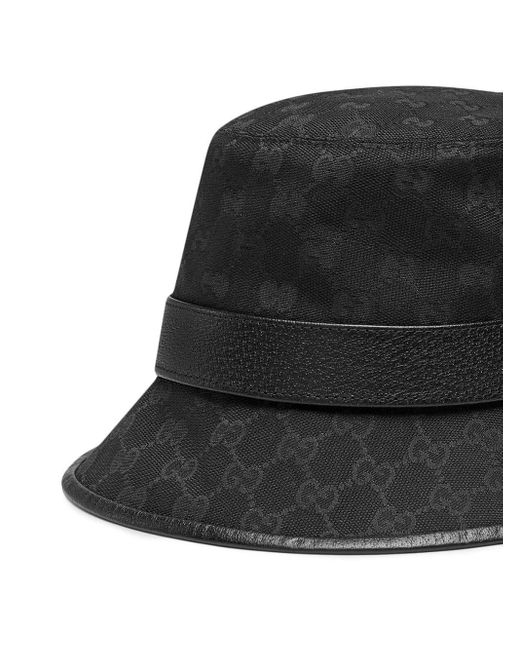 Gucci Black GG Canvas Bucket Hat With Double G for men