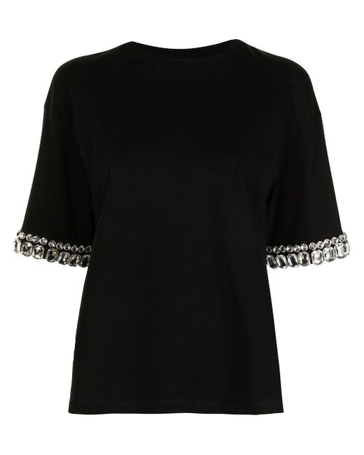 Camiseta con detalles de cristales Giambattista Valli de color Black