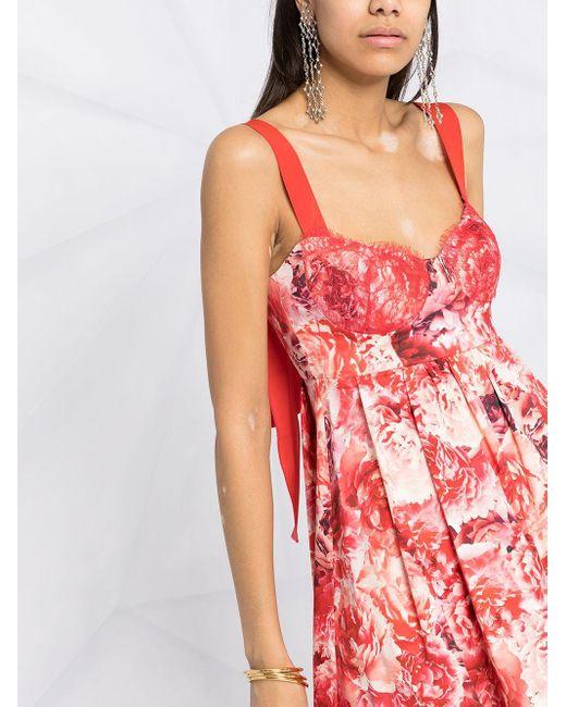 Elisabetta Franchi フローラル プリーツドレス Red