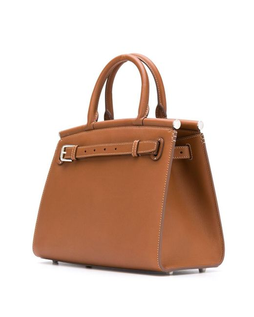 Bolso shopper con logo y asa superior Ralph Lauren Collection de color Brown