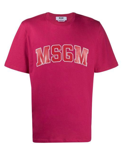 メンズ MSGM ロゴ Tシャツ Pink