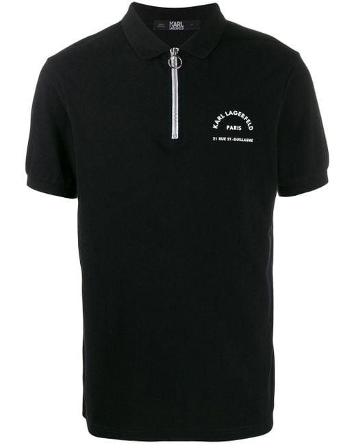 メンズ Karl Lagerfeld ハーフジップ ポロシャツ Black