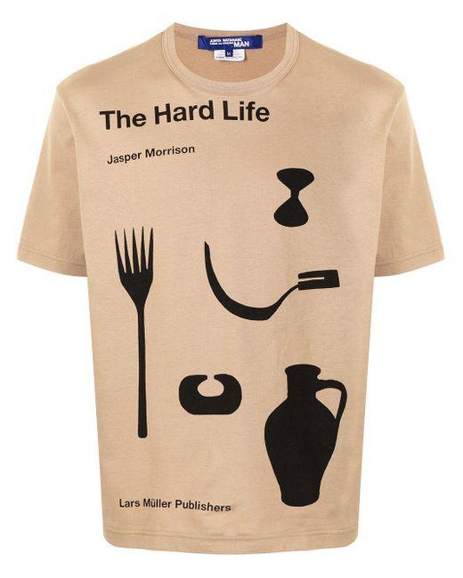 """Junya Watanabe T-Shirt mit """"The Hard Life""""-Print in Brown für Herren"""