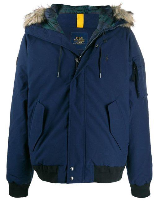 メンズ Polo Ralph Lauren Fur-hood Down Jacket Blue