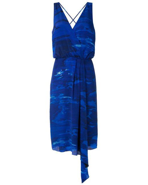 Andrea Marques プリント ドレープドレス Blue