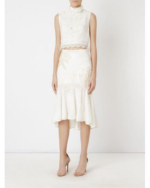 fe8e990dc ... Martha Medeiros - White Embroidered Lace Mix Midi Skirt - Lyst ...