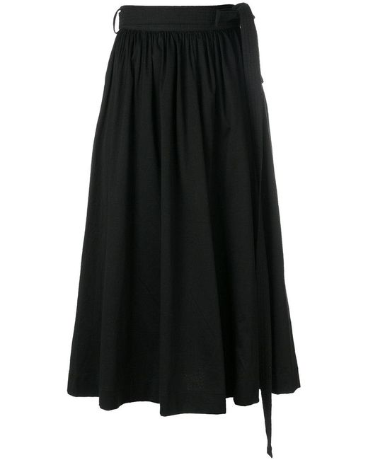 Lemaire - Black Gathered Midi Skirt - Lyst