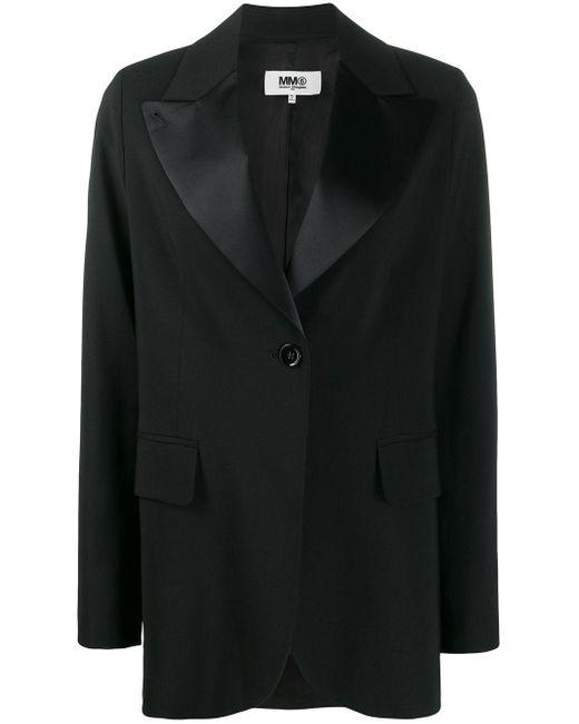 Blazer à col à revers satinés MM6 by Maison Martin Margiela en coloris Black