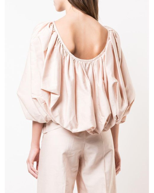 Gabriela Hearst Draped Flared Blouse Pink