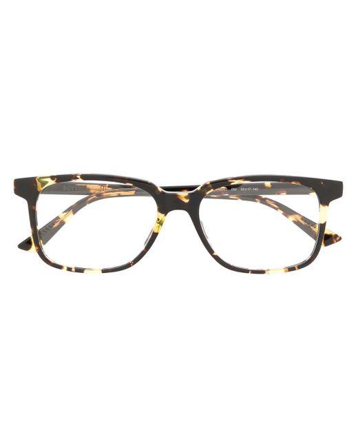 Bottega Veneta トータスシェル スクエア眼鏡フレーム Black