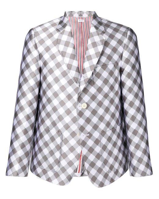 メンズ Thom Browne パッチポケット ギンガム サックスポーツコート Gray
