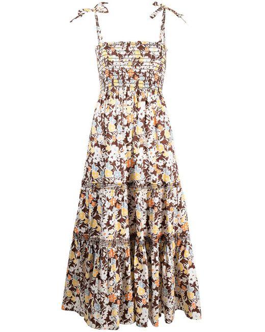Tory Burch フローラル シャーリング ドレス Multicolor