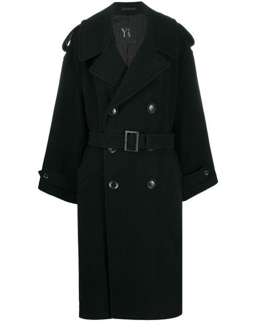 Длинное Двубортное Пальто Y's Yohji Yamamoto, цвет: Black
