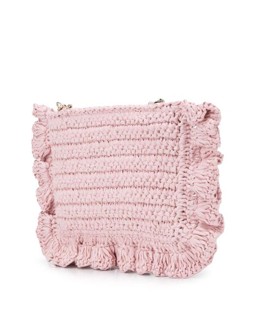 Сумка Из Рафии С Оборками RED Valentino, цвет: Pink