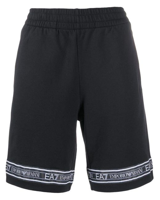 メンズ EA7 ロゴ トラックショーツ Black