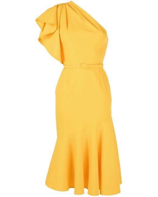 Oscar de la Renta ワンショルダー ベルテッドドレス Yellow