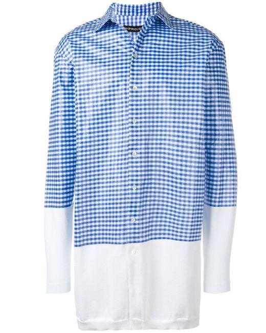 メンズ Y. Project チェック ニットシャツ Blue