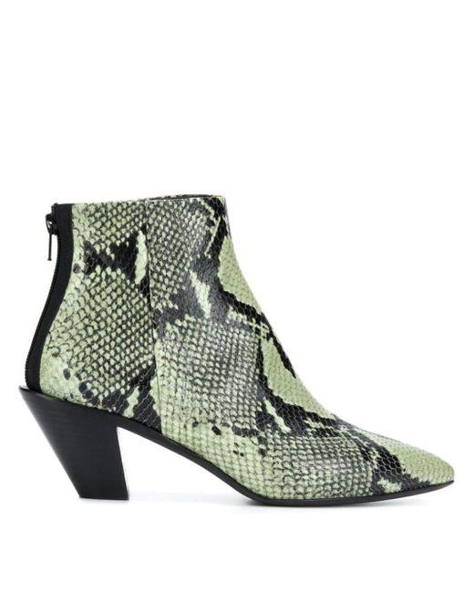 A.F.Vandevorst Botas con efecto de piel de serpiente de mujer de color verde
