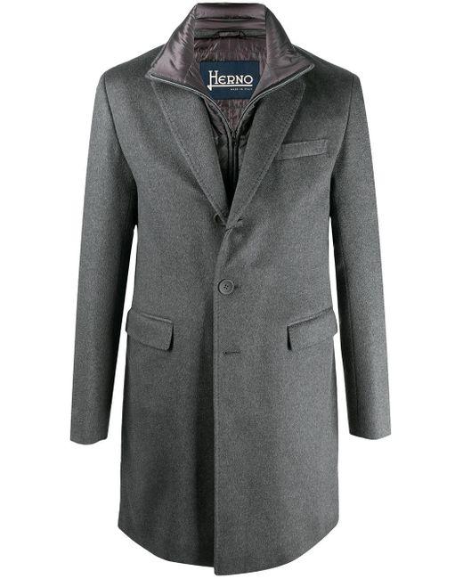 メンズ Herno レイヤード シングルコート Gray