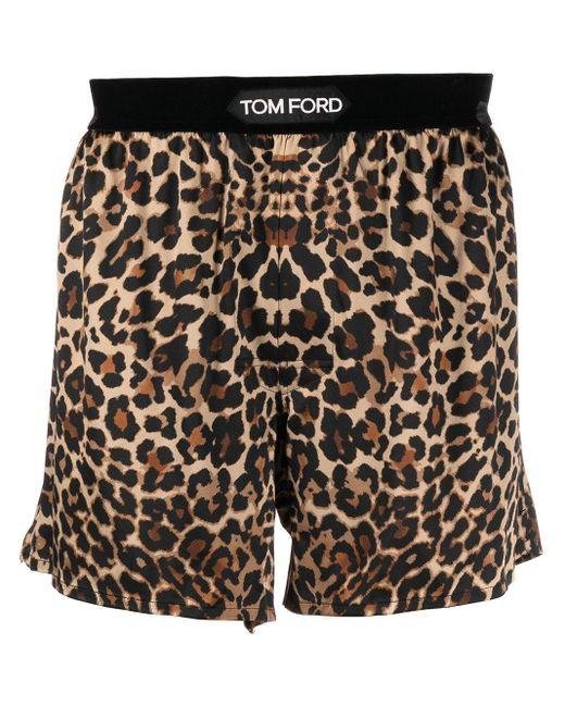 メンズ Tom Ford レオパード ボクサーパンツ Black