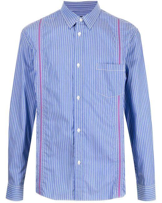 Comme des Garçons Blue Debossed Stripe Pinstripe Shirt for men