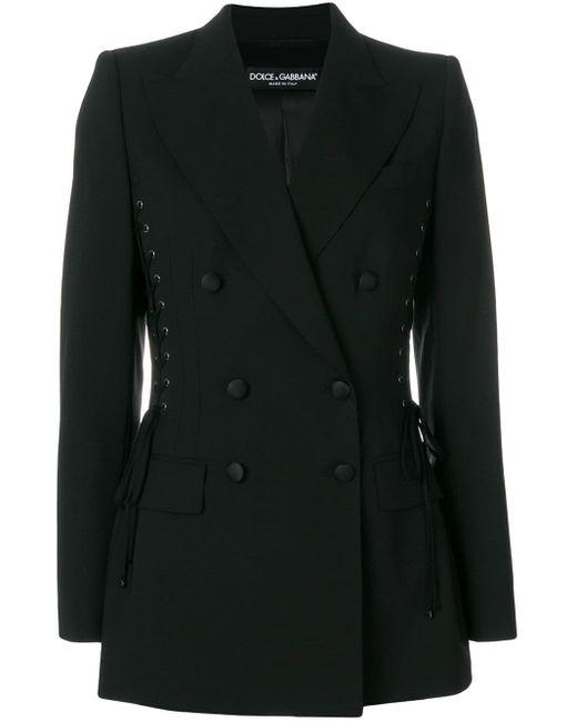 Dolce & Gabbana レースアップ テーラードジャケット Black