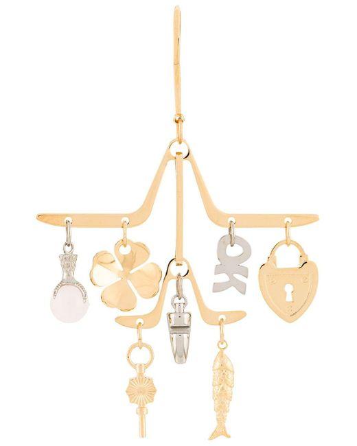 Lanvin Metallic Charm Chandelier Earrings