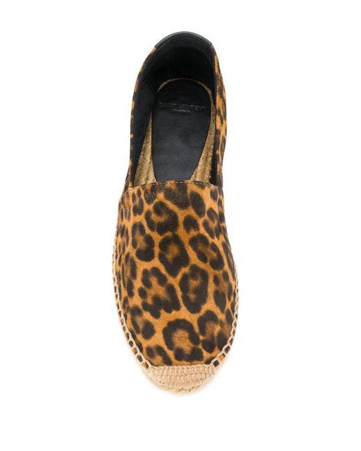 Saint Laurent Brown Espadrilles mit Leoparden-Print
