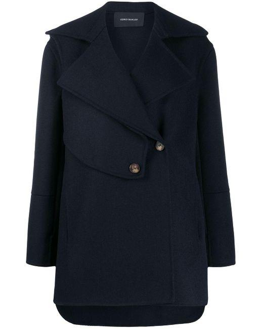 Cedric Charlier Blue Short Panelled Coat