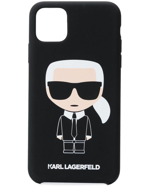 Karl Lagerfeld Black Karl Caricature Printed Iphone 11 Pro Max Phone Case